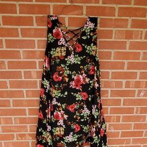 Umgee plus size 1X strappy A-line dress floral
